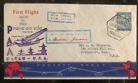 1937 Portuguese Macao First Flight Cover FFC To Bridgeport USA Via Guam Island