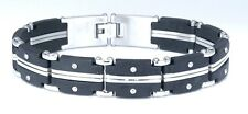 "USA RUBBER & STAINLESS STEEL Link Unisex Cool Bracelet SSB-035 (8.5"")"