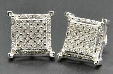 10K White Gold Over 1.65 Ct Diamond Studs Concave Kite Pave Mens Ladies Earrings