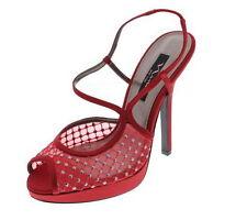 LDN_NINA NEW YORK Escarpin sandales a talon soirée rouge satin_38.5_80€ -30%
