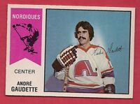 RARE 1974-75 OPC WHA # 46 NORDIQUES ANDRE GAUDETTE  ROOKIE  CARD