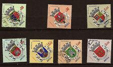 ANGOLA 7 Sellos matasellados escudo de armas de 7 regiones del país 82m8a