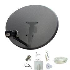 Sky Hd Satellite Dish Zone 2 & Quad Lnb +10m Twin White Cable Kit Freesat Polsat