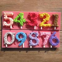 3D Number 0-9 Silicone Mold Fondant Cake Decor Sugarcraft Mould DIY Baking Tool