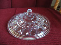Vintage Windsor Pattern Clear Crystal Glass Candy Dish Bowl Lid ONLY