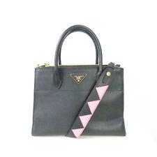 PRADA Schultertasche Damen Tasche Bag Sac City C Tote Leder Schwarz Pink
