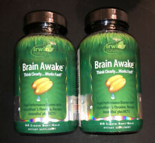 Lot of 2 Irwin Naturals Brain Awake Think Clearly - 60 Soft-Gels EACH - Exp 4/20