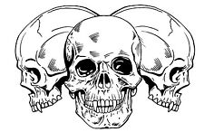 Skulls Temporary Fake Tattoo Waterpoof Bikers No Fear of Death Body Art Transfer