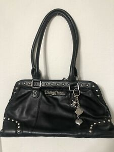 Harley-Davidson BLACK  Leather Purse w/ Studs, Charms Satchel-Shoulder-handbag
