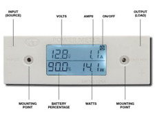 125 Amp In-Line power Meter, Shows voltage, amps,watts & bat % in real time.