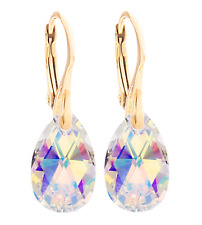 Women's AB 16mm Pear Crystals From Swarovski® Earrings. 24K Yellow Gold.