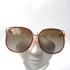Vintage 979 Aa Brown Transparent Oversized Butterfly Sunglasses Frames France
