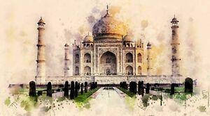 Stunning Taj Mahal - World Wonder India Watercolour Wall Art Canvas Pictures