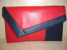 OVER SIZED COLOR BLOCK BRIGHT RED & NAVY BLUE Faux leather clutch bag.