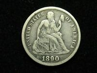 SUMMER SALE!!  VERY FINE+ 90% SILVER 1890 SEATED DIME w/FULL LIBERTY  #11c