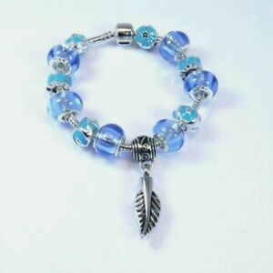 Violet and Blue Bead Charm Bracelet with Feather Ashes Charm