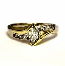 14k white yellow gold .87ct marquise diamond womens engagement ring 6.4g estate