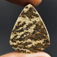 Cts. 26.30 Natural Psilomelane Dendritic Limestone Pear Cabochon Loose Gemstone