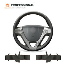 Top Customize Black Genuine Leather Steering Wheel Cover for Acura MDX 2009-2012
