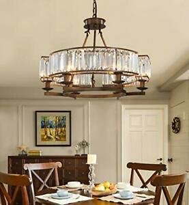 APBEAM Vintage Crystal Round Chandelier with Brown Frame Rustic Farmhouse Pen...