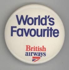 VINTAGE BRITISH AIRWAYS Pin BUTTON Pinback BADGE BA Airline ENGLAND UK Britain