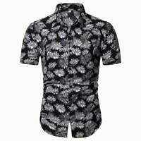 Formal short sleeve men's floral summer luxury dress shirt tops t-shirt casual