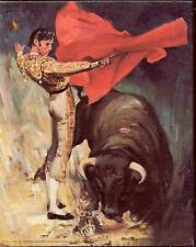 Bullfight by Tomaso  - Vintage Canvas Style Lithograph Print