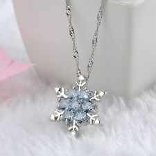 Best Gift Blue Crystal Snowflake Frozen Flower Charm Pendant Necklace Chain