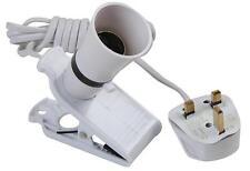 Clip-on Lampholder 13A Plug for 60W Lightbulb Clips on Table Desk Bedhead etc