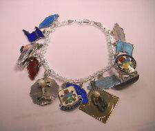 "Vintage Sterling Silver      Charms & Charm Bracelet Travel Caribbean 7 """
