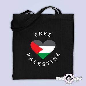 Large Tote Bag Heart  FREE PALESTINE GAZA FREEDOM Cotton Black