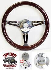 "1969-1994 Impala Caprice Biscayne steering wheel BOWTIE 14"" DARK MAHOGANY WOOD"