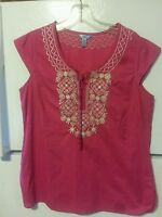 IZOD Women's Cap Sleeve Embroidered Boho Blouse Top SIZE S/P Small Bright Pink