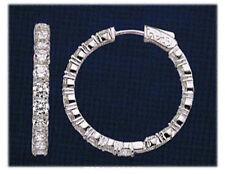 Hoop Earring 30 x .10 ct 3/4 inch 3.01 carat Round cut Diamond 14k White Gold