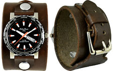 Men's Handcrafted Leather Cuff Watch; Wrap Around Cuff; Sport Dial