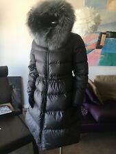 CLASNA DOWN COAT WITH HOOD AND REAL SILVER FOX TRIM Sz XL FITS Sz L NWT