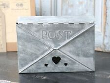 Small Metal Post Letter Box Mail Holder Wall Hanging Antique Vintage Style