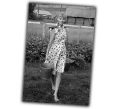 War Photo beautiful girl from Russian village Nice sexy retro vintage WW2 4x6 L