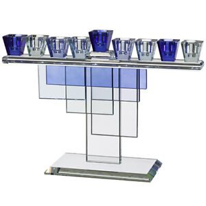 Luxurious Crystal Menorah Blue Gift Accent Home Decor Traditional Style 20x28cm