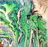 """Abstract fluid acrylic  8"""" by 8"""" wall art, decor 'Passages' greens,blues,white"""