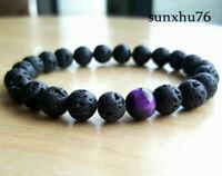 Mens Lava Rock Tigers Eye Mala Beads Bracelet Energy Yoga Beaded