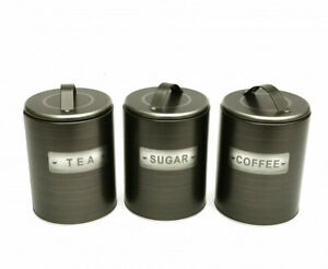 Brushed Tin 3 Canisters (Tea-Coffee-Sugar) - New
