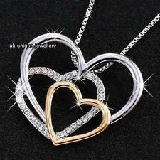 VALENTINES GIFTS FOR HER - Silver & Gold Crystal Heart Necklace Women Jewellery