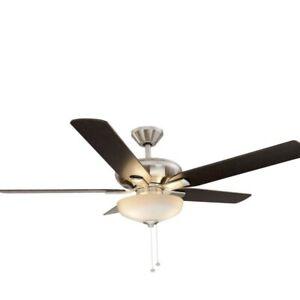 HAMPTON BAY Holly Springs 52 in. LED Indoor Brushed Nickel Ceiling Fan