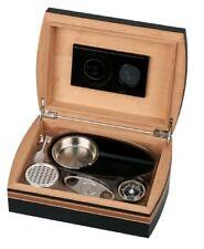 HUMIDOR Set Schwarz Braun 25 Zigarren Hygrometer, Humidifer, Abschneider, Ascher
