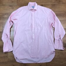 "Hilditch & Key Cotton Shirt Pink Double Cuff 17"" XL"