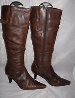 CLARKS WOMENS DARK BROWN  LEATHER KNEE HIGH BOOTS SIZE:4/37(WB149)