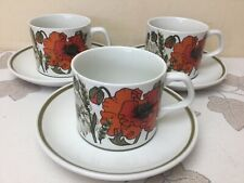 J&G Studio Meakin Poppy 3 x Cups & Saucers Superb Condition