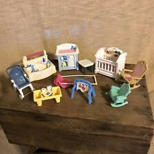 Fisher Price 1999 Loving Family Furniture 19 Pc Lot Crib Sink Phone Bed Stroller