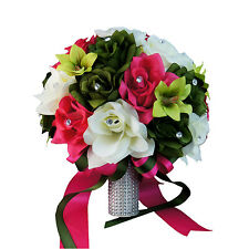 "Elegant Bouquet-10""Large arrangement.Silk flowers in Hot pink Green Rose orchid"